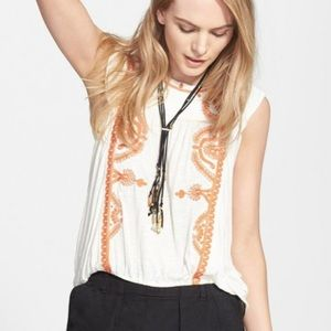 Free People Dos Sequndos Embroidered Top Boho